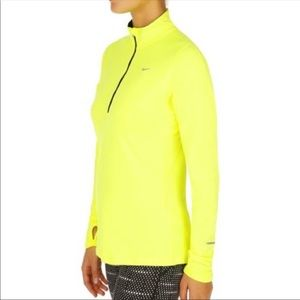 NWT Nike neon yellow 1/4 zip pullover size Large